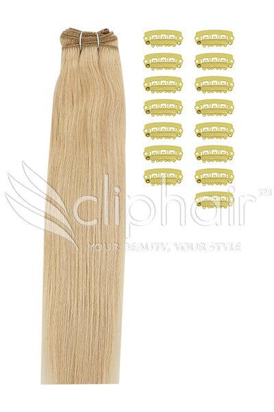 DIY Remy Clip in Human Hair Extensions - Light Golden Blonde (#16)