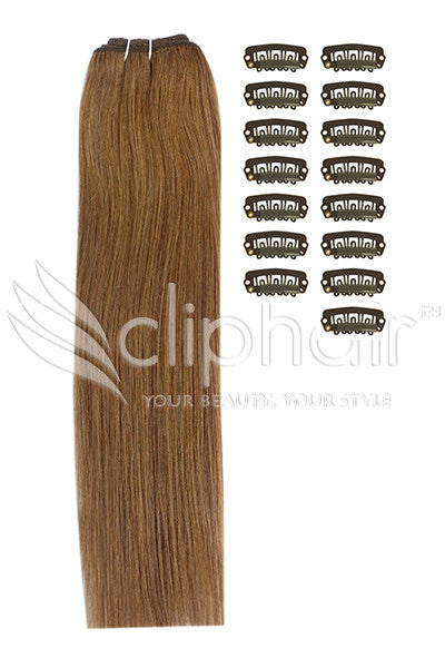 DIY Remy Clip in Human Hair Extensions - Light/Chestnut Brown (#6)