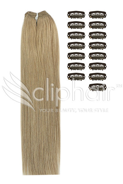 DIY Remy Clip in Human Hair Extensions - Lightest Brown (#18)