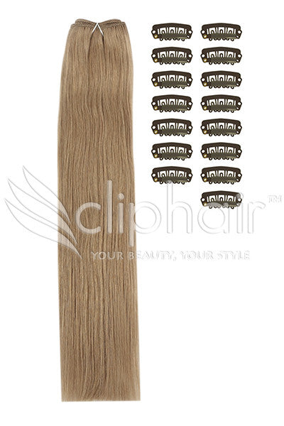 DIY Remy Clip in Human Hair Extensions - Medium Ash Brown (#8)