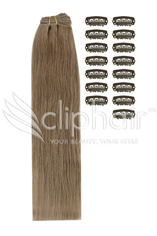 DIY Remy Clip in Human Hair Extensions - Ash Brown (#9)