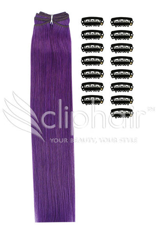DIY Remy Clip in Human Hair Extensions - Purple