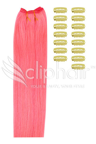 DIY Remy Clip in Human Hair Extensions - Pink