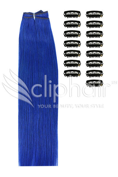 DIY Remy Clip in Human Hair Extensions - Blue