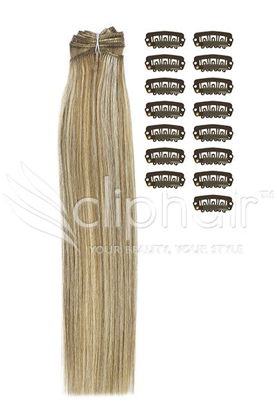 DIY Remy Clip in Human Hair Extensions - Lightest Brown/Bleach Blonde Mix (#18/613)