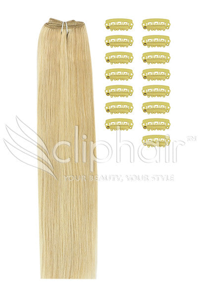 DIY Remy Clip in Human Hair Extensions - Golden Blonde/Bleach Blonde Mix (#16/613)