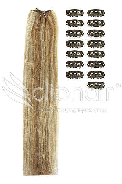 DIY Remy Clip in Human Hair Extensions - Light Brown/Bleach Blonde Mix (#6/613)