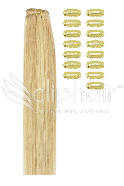 DIY Remy Clip in Human Hair Extensions - Strawberry Blonde/Bleach Blonde Mix (#27/613)