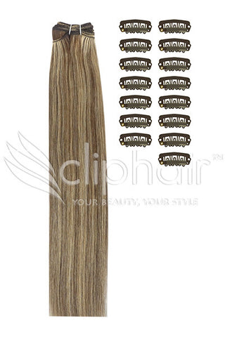 DIY Remy Clip in Human Hair Extensions - Medium Brown/Strawberry Blonde Mix (#4/27)