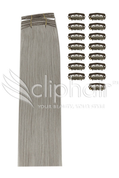 DIY Remy Clip in Human Hair Extensions - Silver/Grey (#SG)