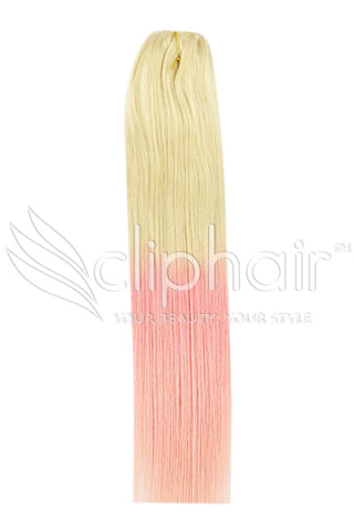 Remy Human Hair Weft/Weave Extensions - Ombre (#T60/PINK)