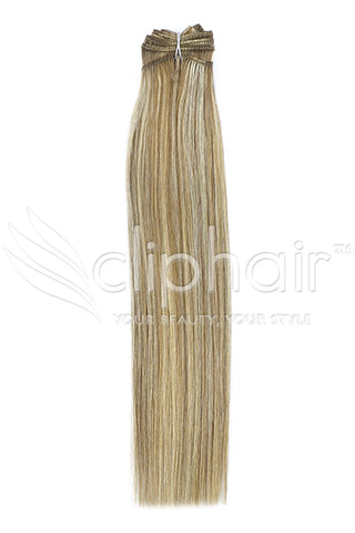 Remy Human Hair Weft/Weave Extensions - Lightest Brown/Bleach Blonde Mix (#18/613)