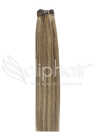 Remy Human Hair Weft/Weave Extensions - Medium Brown/Strawberry Blonde Mix (#4/27)