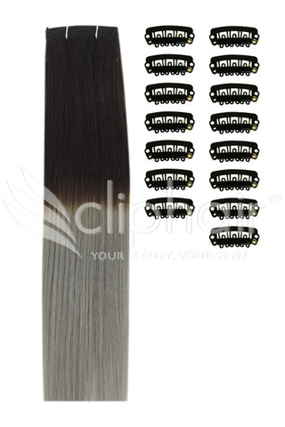 DIY Remy Clip in Human Hair Extensions - Dark Brown/Silver Hair (#T2/SG)