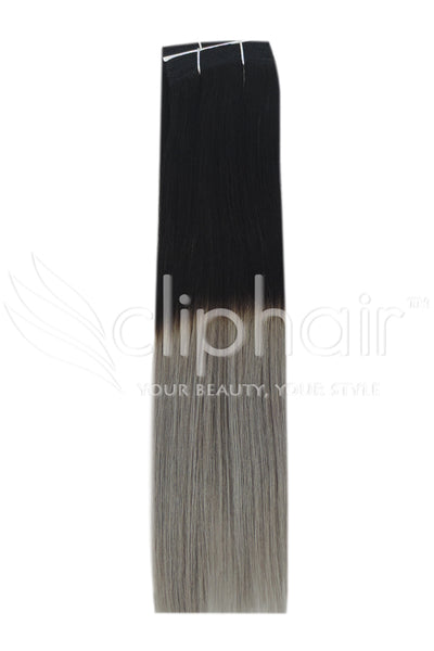 Remy Human Hair Weft/Weave Extensions - Natural Black/ Silver Hair (#T1B/SG)