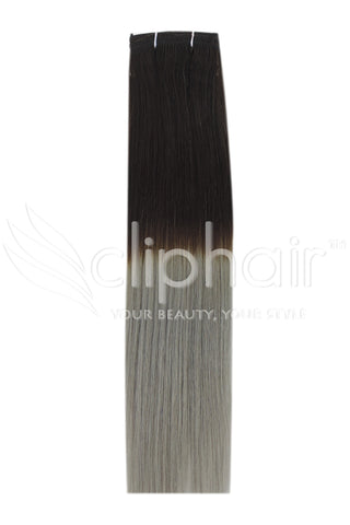 Remy Human Hair Weft/Weave Extensions - Dark Brown/ Silver Hair (#T2/SG)