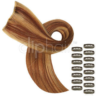 DIY Remy Clip in Human Hair Extensions - Strawberry Blonde/Auburn/Bleach Blonde Mix (#27/33/613)