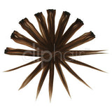 Remy Clip in Human Hair Extensions Highlights / Streaks - Medium Brown/Auburn Mix (#4/30)
