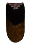 Human clip in hair extensions ombre dark brown & light brown shade T2/6