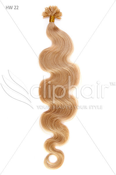 Nail Tip / U-Tip Bodywave Pre-bonded Remy Human Hair Extensions - Light Ash Blonde (#22)