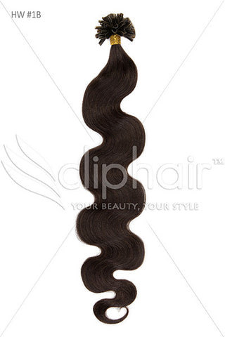 Nail Tip / U-Tip Bodywave Pre-bonded Remy Human Hair Extensions - Natural Black (#1B)