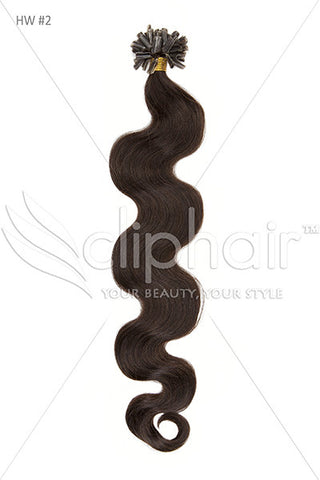 Nail Tip / U-Tip Bodywave Pre-bonded Remy Human Hair Extensions - Darkest Brown (#2)