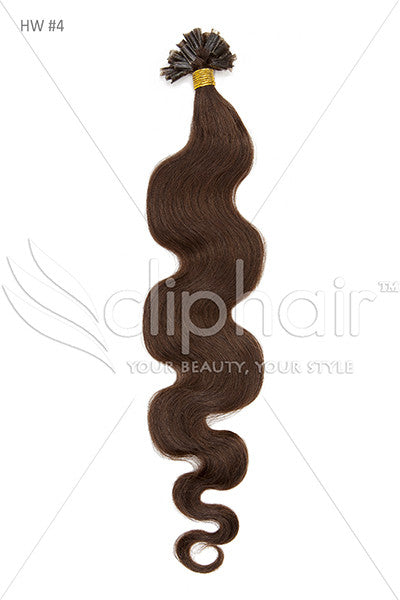 Nail Tip / U-Tip Bodywave Pre-bonded Remy Human Hair Extensions - Medium-Chocolate Brown (#4)