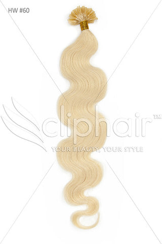 Nail Tip / U-Tip Bodywave Pre-bonded Remy Human Hair Extensions - Lightest Blonde (#60)