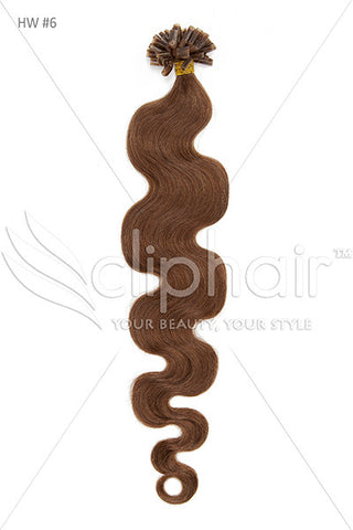Nail Tip / U-Tip Bodywave Pre-bonded Remy Human Hair Extensions - Light Brown (#6)