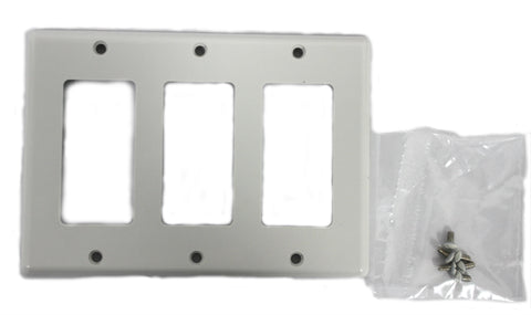 3-Gang Decorex Faceplate, White