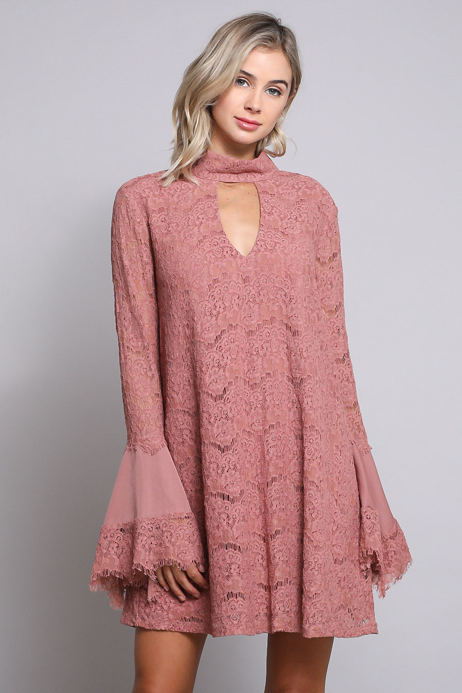 Rose Lace Bell Sleeve Dress