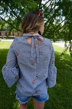 Tie Back Gingham Blouse