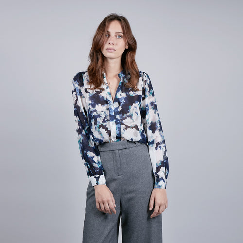 Blue & White Printed Blouse