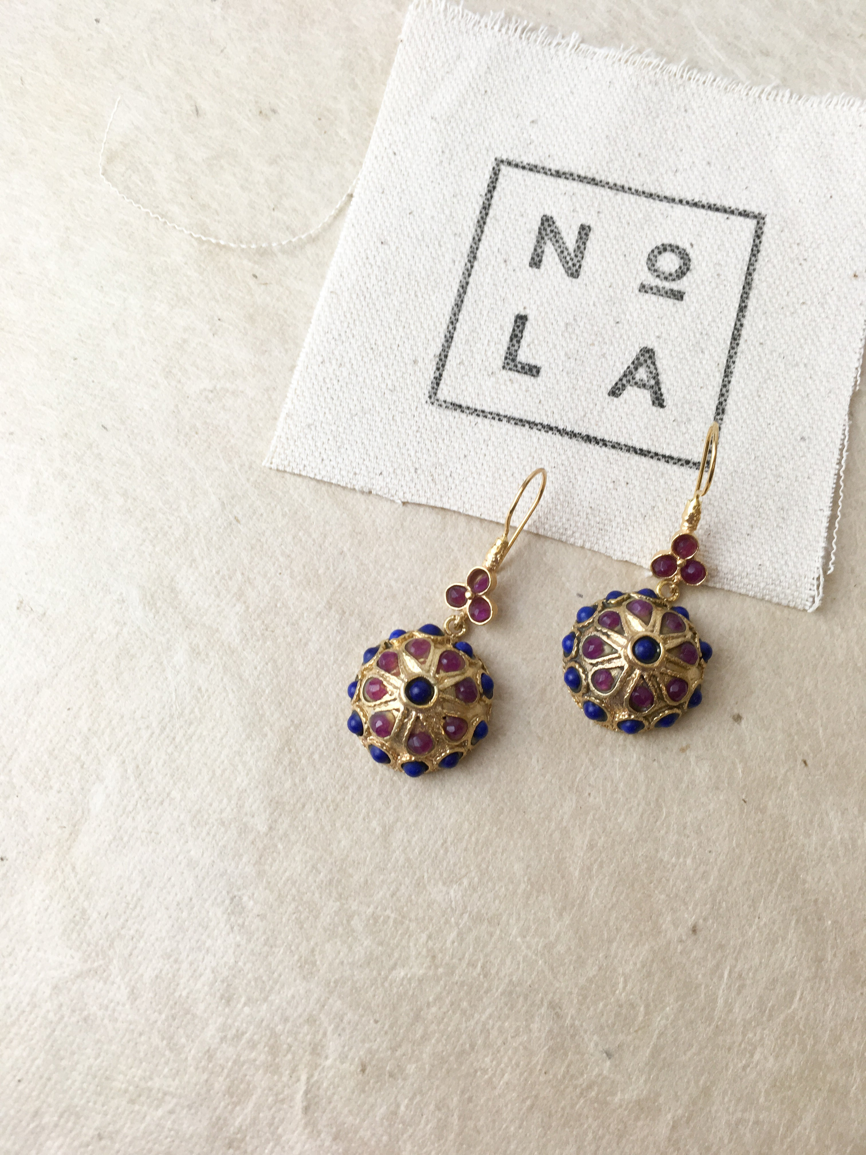 Ottoman Small Pendant earrings in Blue and Purple 00-6
