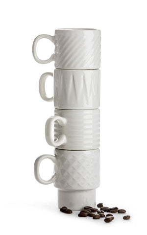 Stacking Espresso Mugs - White
