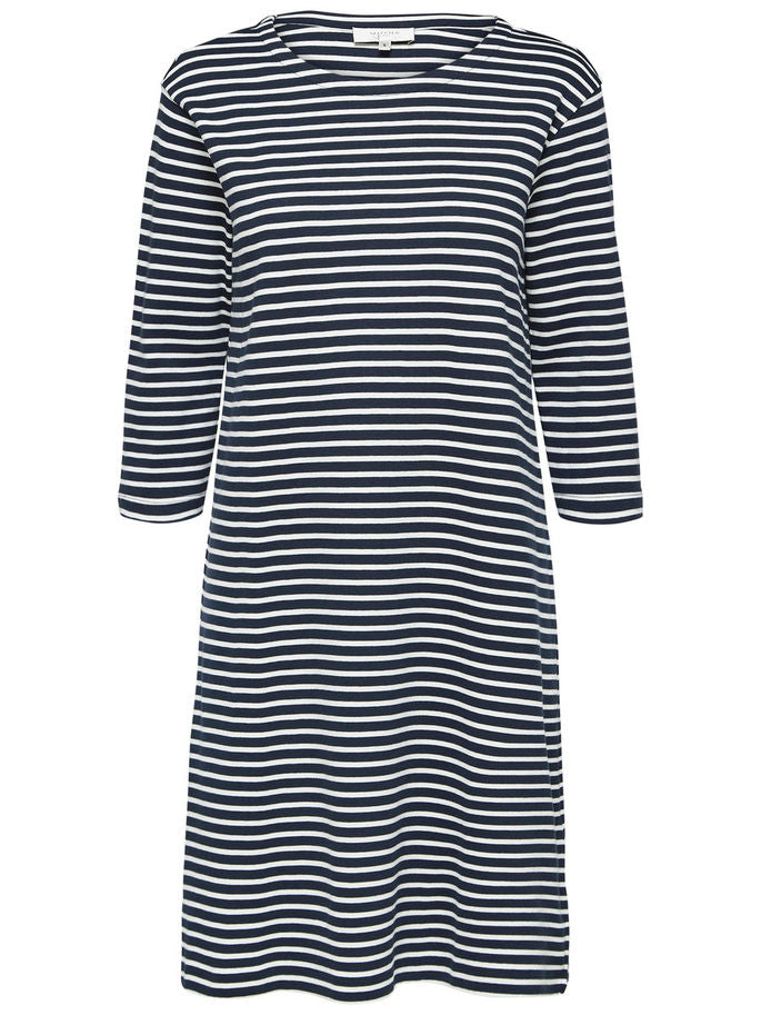 Ava Dress in Navy and White Stripe