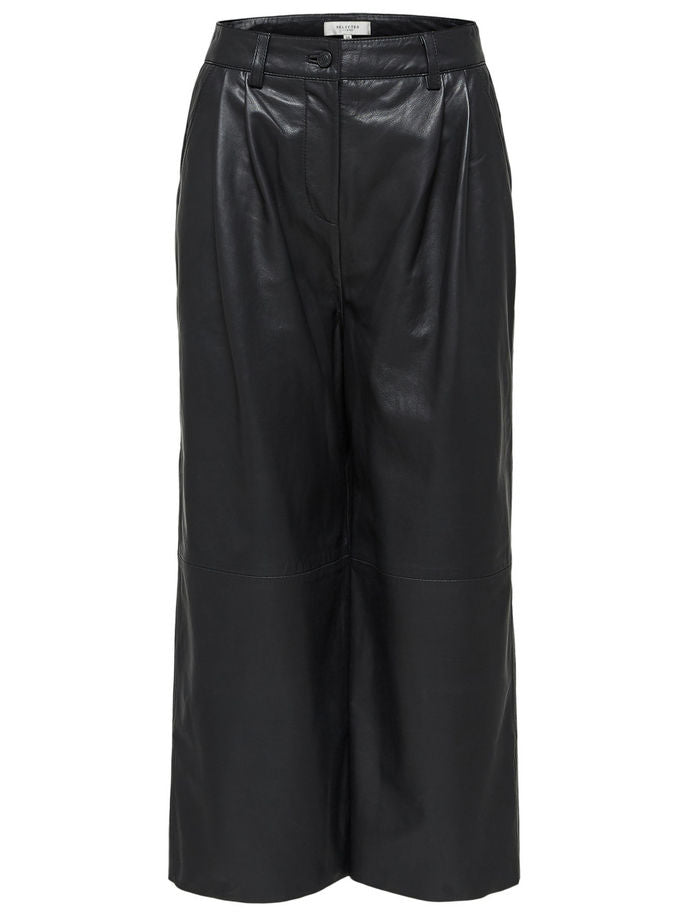 Simone Leather Cropped Pants in Black