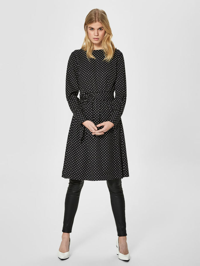 Millado Dotted Dress in Black and White