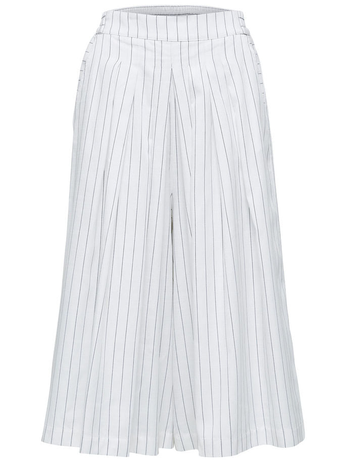 Raika Cropped Trousers in White with Black Pinstripes