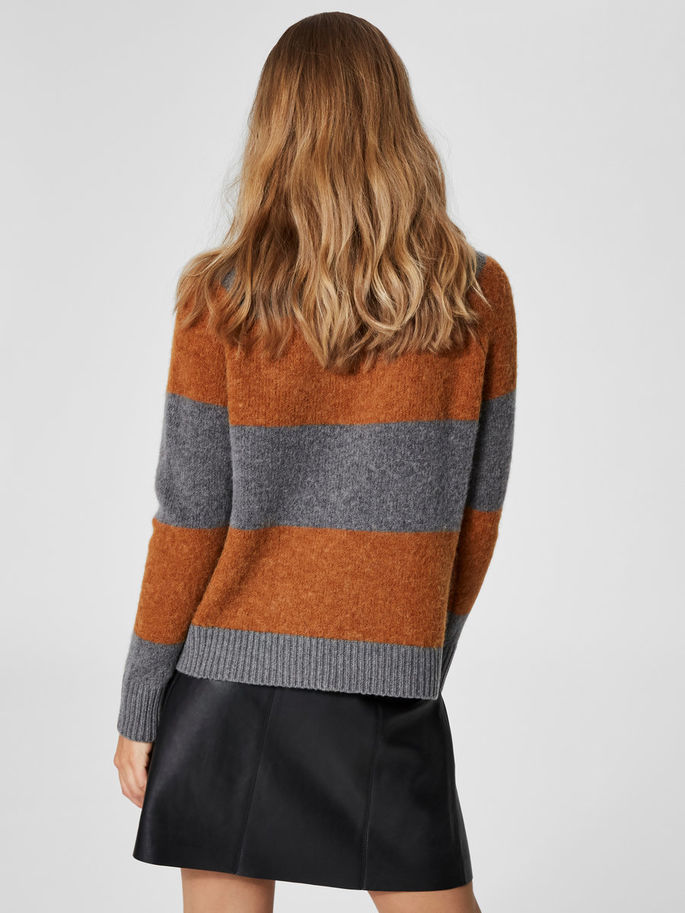 Isabella Sweater in Glazed Ginger and Grey Melange Stripe