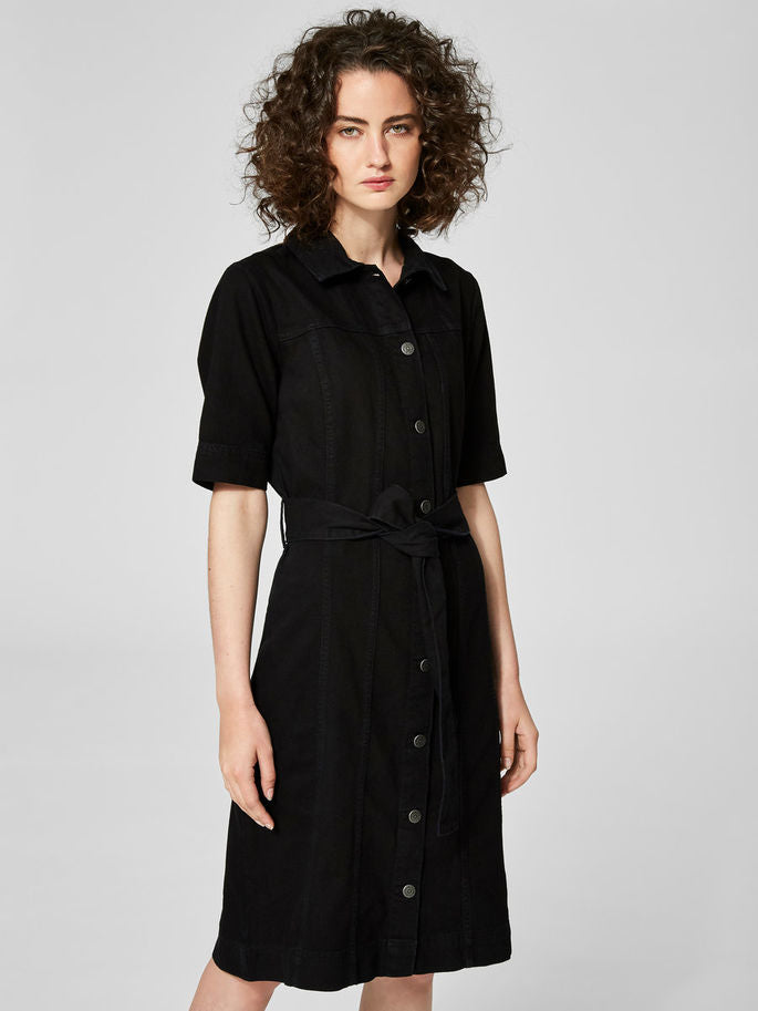 Cat Shirt Dress in Black Denim