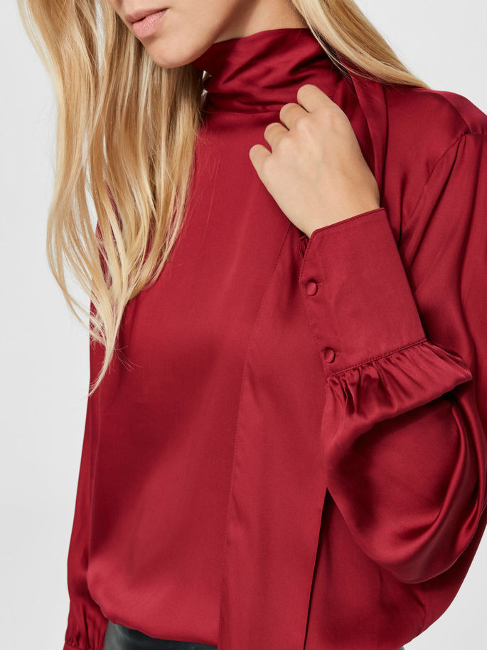 Quinn Neck-Tie Blouse in Beet Red