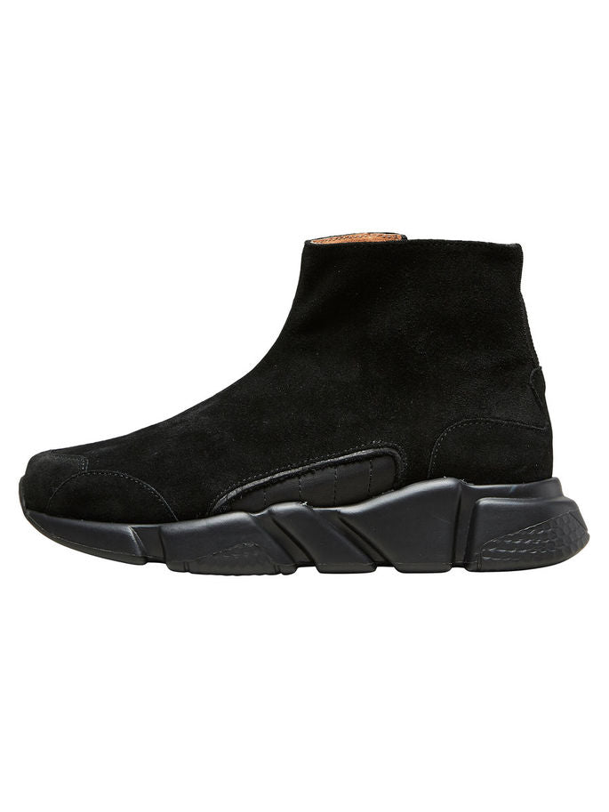 Vira Hi-Top Zip Trainers in Black