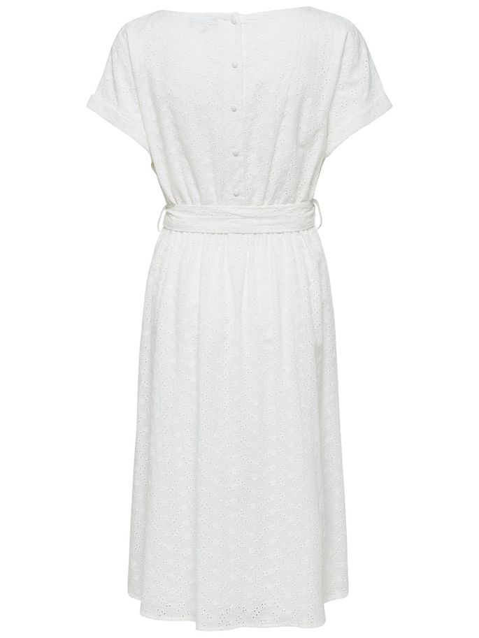 Vienna Short-Sleeved Midi Dress in White
