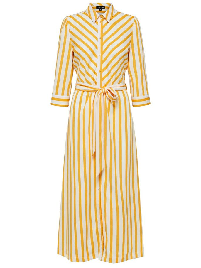 Dorit Florentina Maxi Shirt Dress in Radiant Yellow and White Stripe