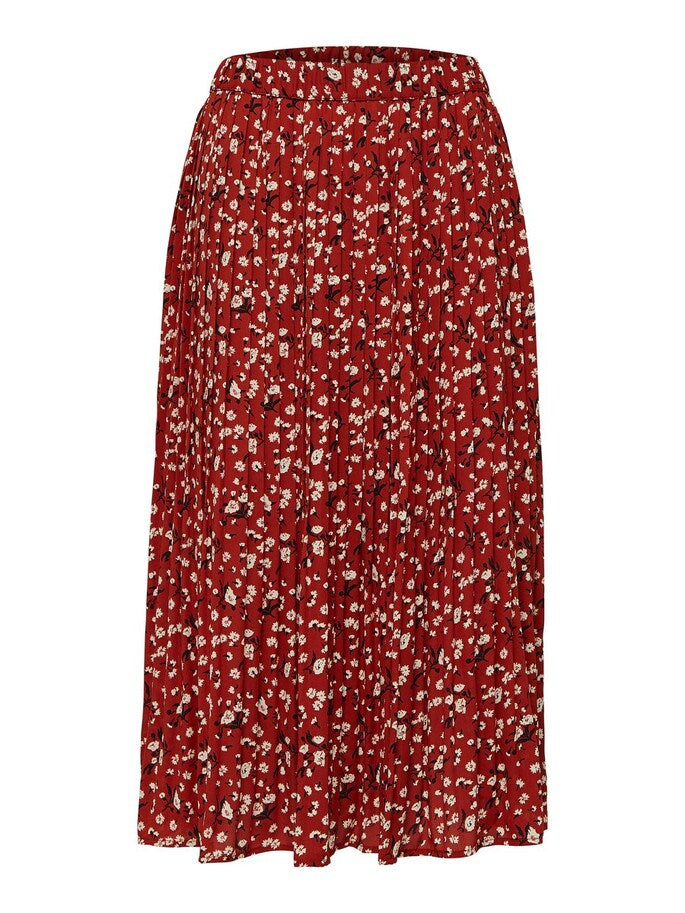 Poppy Pleated Maxi Skirt in Chili Oil