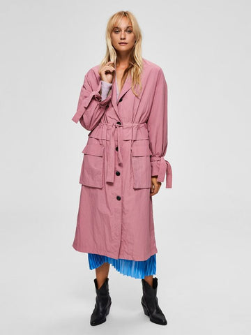 Biona Tie Detail Trench in Heather Rose