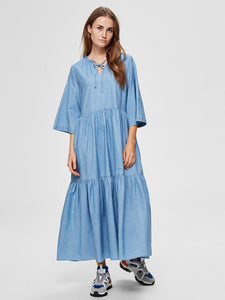 Joy Ruffled Maxi-Dress in Light Blue