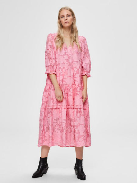 Sadie Tie Waist Midi Dress in Rosebud Pink