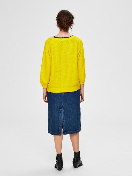 Mille Balloon Sleeve Jumper in Empire Yellow